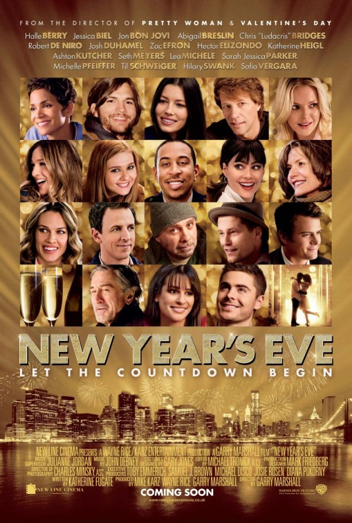 new_years_eve_ver2 rare promo movie poster garry marshall lea michele jon bon jovi hilary swank glee michelle pfeiffer robert de niro