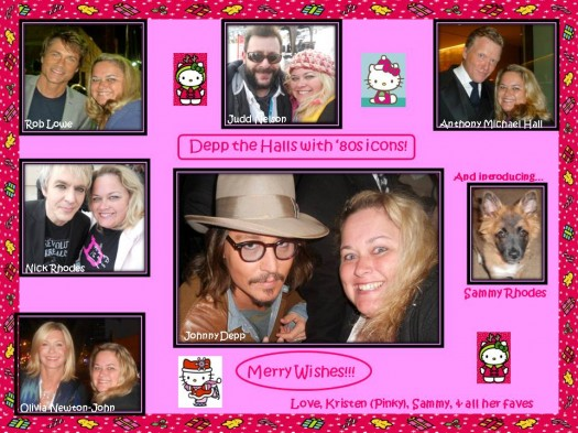 pretty in pinky's christmas card with fan photos of johnny depp judd nelson anthony michael hall nick rhodes