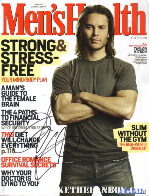 taylor kitsch signed autograph men's health magazine wolverine gambit rare promo hot sexy magazine cover muscle