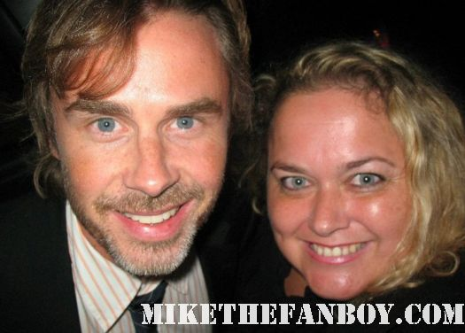 Pretty in pinky from Mike The Fanboy with True Blood Star Sam Trammell posing for a fan photo rare signed autograph rare promo
