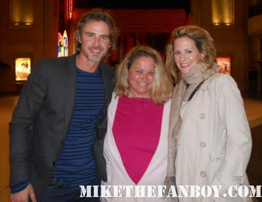 Pretty in pinky from Mike The Fanboy with True Blood Star Sam Trammell posing for a fan photo rare signed autograph rare promo missy sam trammell's girlfriend