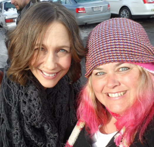 vera farmiga posing with pinky from mike the fanboy at sundance film festival 2012 hot sexy rare promo source code