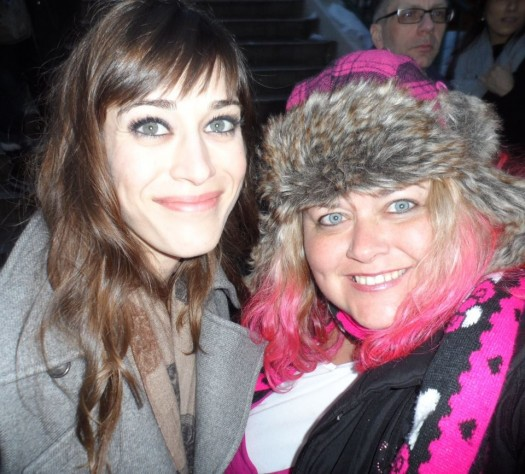 lizzy caplan posing with pinky from mike the fanboy at sundance 2012 film festival mean girls janice ian hot sexy party down