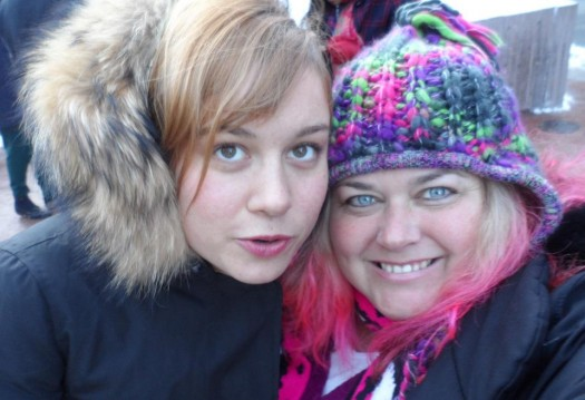 Brie Larson from the united states of tara poses with pinky from mike the fanboy at sundance 2012 film festival signed autograph