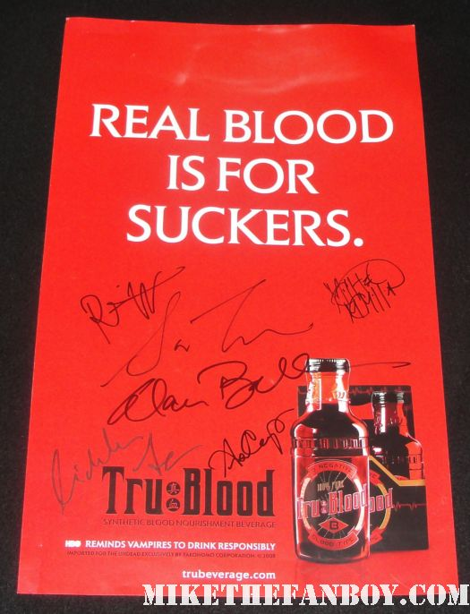 true blood season 2 cast signed autograph promo poster rare real blood is for suckers hbo anna paquin stephen moyer rutina wesley