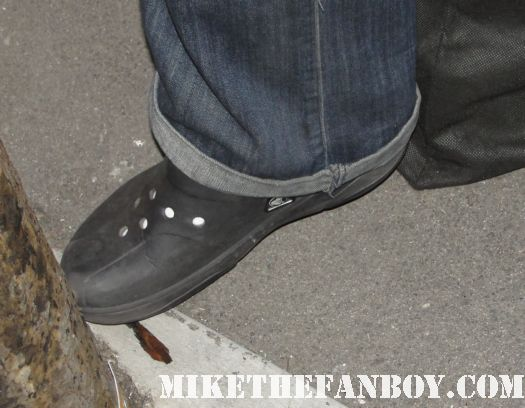 cb wearing his crocs while waiting for Christina Ricci to leave a talk show taping at jimmy kimmel live