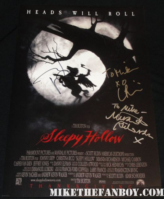 christina ricci hand signed autograph sleepy hollow rare mini promo poster miranda richardson johnny depp