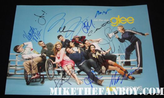 glee signed autograph rare promo mini poster cory monteith rare lea michele mark sailing jayma mays