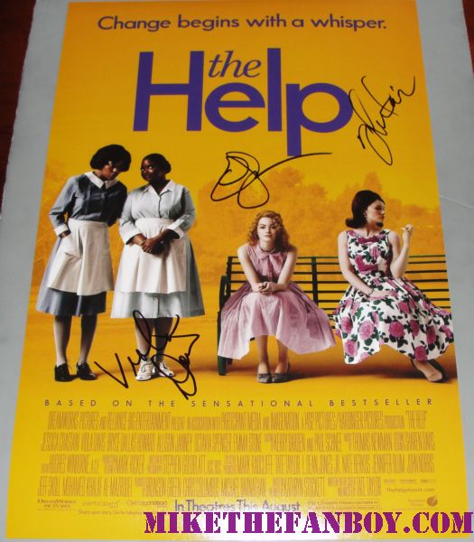the help cast signed autograph rare mini poster emma stone viola davis jessica chastain rare signed autograph easy a rare promo hot