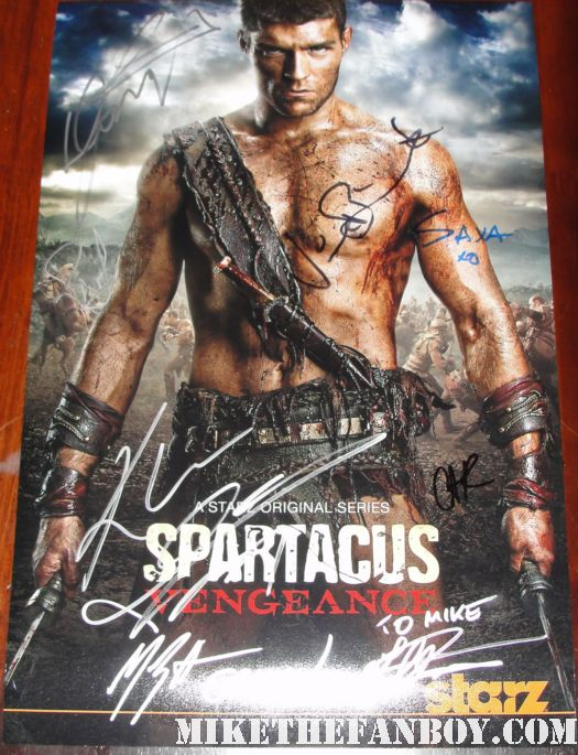 spartacus vengeance signed autograph promo mini poster starz liam mcintyre shirtless hot sexy gladiator rare manu bennett