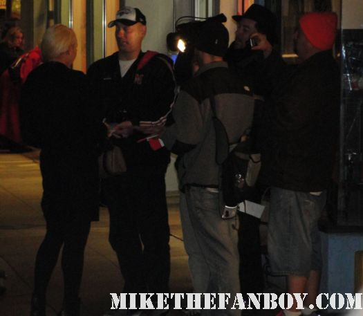 Porn star Mary Carey leaving dari in studio city and signing autographs for fans waiting in the cold