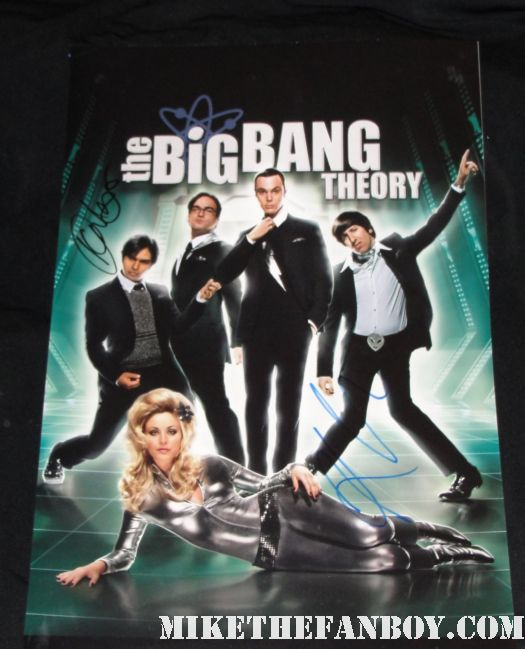 kaley cuoco  kunal nayaar johnny galecki signed autograph big bang theory promo mini poster hot sexy season 4 promo mini poster rare