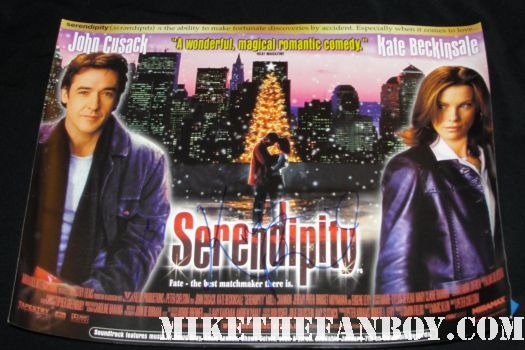 john cusack and kate beckinsale signed autograph serendipity uk quad promo mini poster promo rare