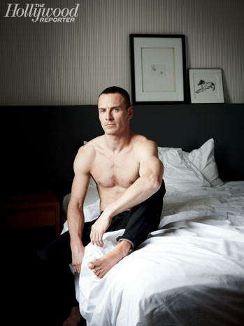 michael_fassbender_hollywood_reporter sexy shirtless hot cover photo shoot rare promo michael fassbender muscle chest pecs rare promo
