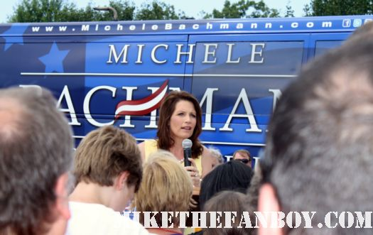 michele bachmann's big blue bus pulls up at a campaign rally stop in a mall signed autograph rare tea party