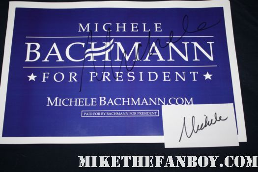 michele bachmann signed autograph president sign rally promo republican presidential nominee rare