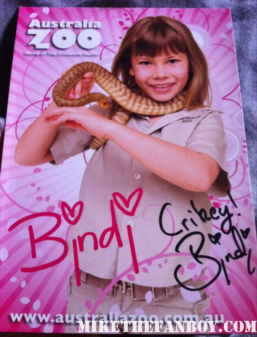 bindi irwin signed autograph promo photo with snake little girl steve irwin