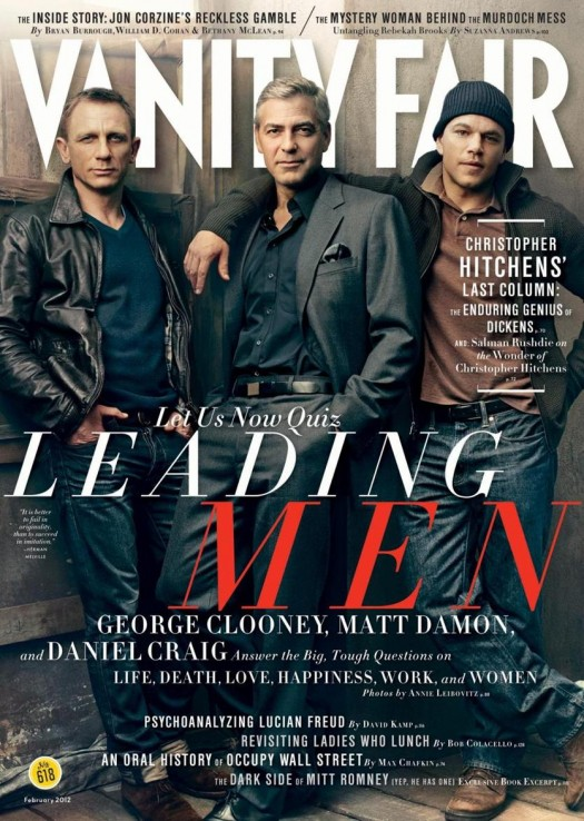 Vanity Fair february 2012 magazine cover with sexy george clooney matt damon daniel craig hot sexy leading men rare promo annie Leibovitz
