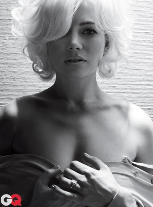Talking about ramping up the Marilyn factor!  None other than sure to be Academy Award winner Ms. Michelle Williams is on the cover of this months GQ magazine.  She sports the classic platinum blonde hair that Ms. Marilyn Monroe has and is clad only in her cough... cough... undergarments.  It's pretty damn hot.  The photo shoot features other similar shots all pretty damn amazing.  Michelle Williams has been on the Academy Award promotional campaign lately and looks to be a sure thing for a nomination.    Check out the latest issue of GQ magazine on shelves now and check out the rest of the photo shoot below!