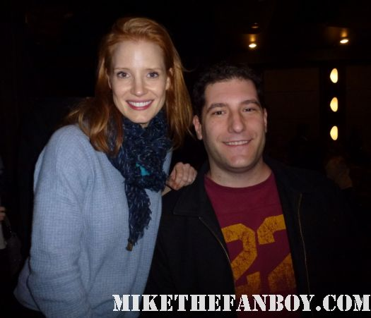 Mike The Fanboy with the help star Jessica chastain at the help q and a cast screening sag awards rare signed autograph