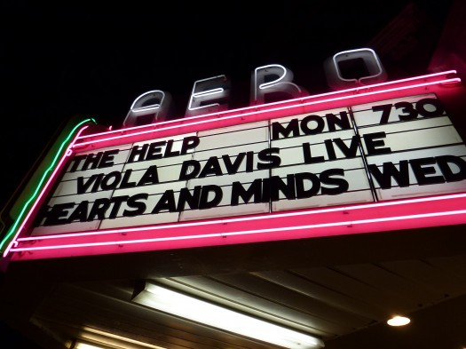 the marquee at the aero theatre in santa monica ca promoting a live q and a with the help star viola davis