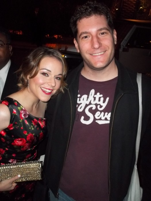 Tina Majorino from veronica mars and napolean dynamite posing for a fan photo with mike the fanboy at the fox all star party 2012