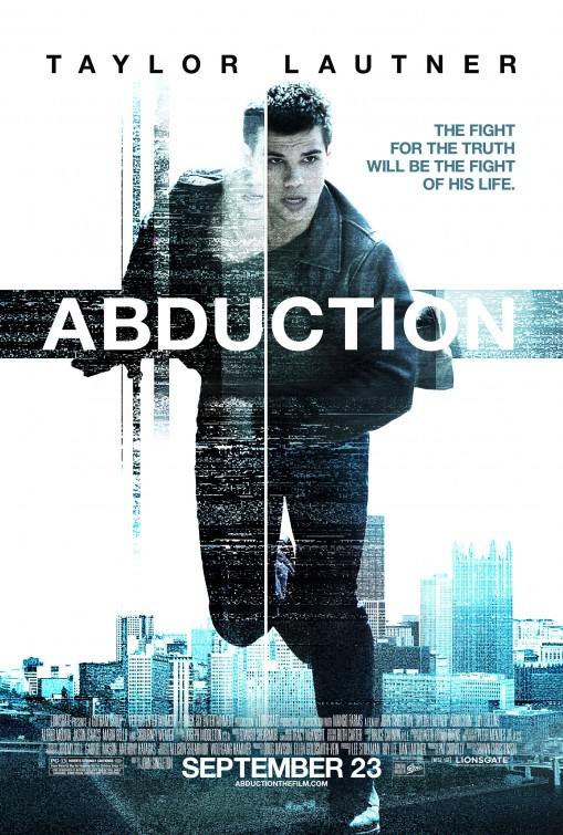 abduction_ver3 rare one sheet movie poster promo taylor lautner shirtless and hot running sweaty rare promo muscles twilight