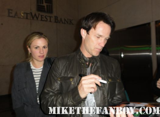 annie potts and stephen moyer on the set of true blood stop to sign autographs for fans on location