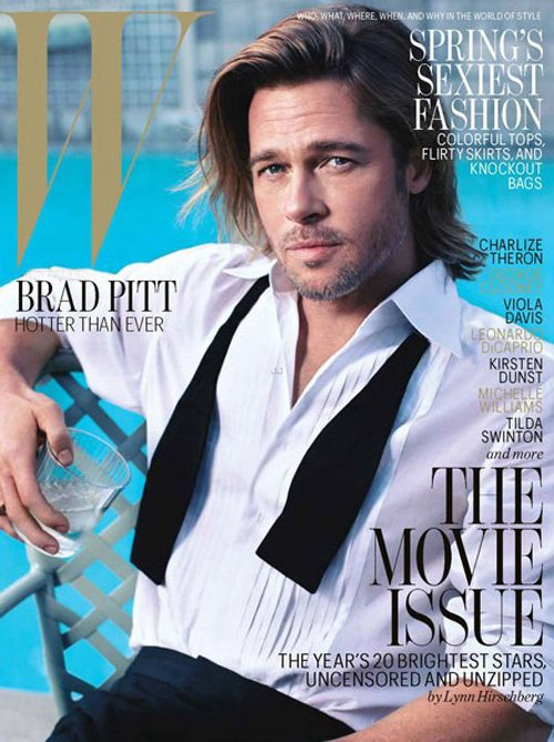 brad-pitt-w-february-2012-2 brad pitt looking sexy on the february 2012 cover of w magazine sultry hot brad pitt moneyball rare promo sexy angelina jolie