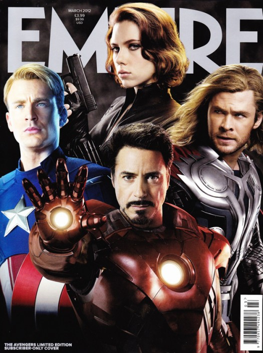 empire magazine the avengers magazine cover inside look captain american iron man thor hot sexy press promo still black widow chris hemsworth robert downey jr chris evans