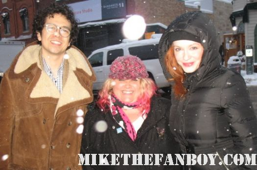 geoffrey arend and christina hendricks pose for a fan photo at the sundance film festival 2012 hot sexy mad men stars