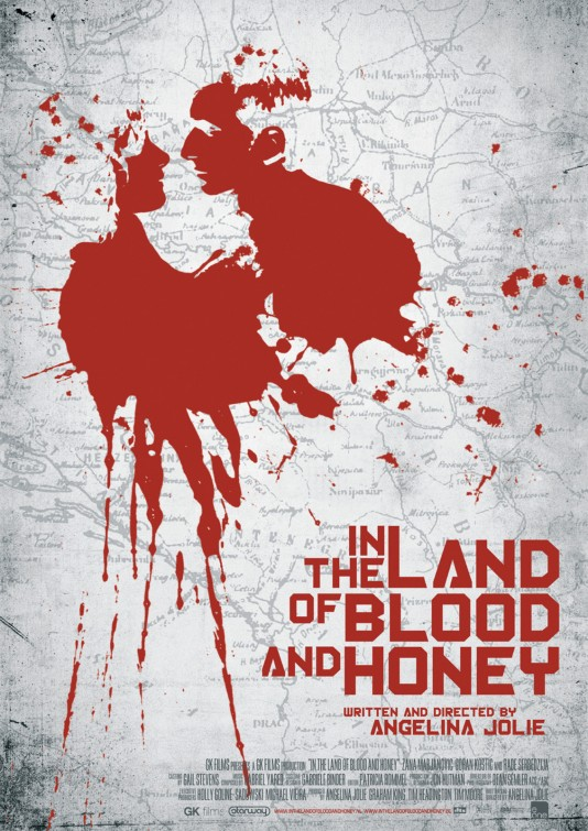 in_the_land_of_blood_and_honey rare promo movie poster one sheet angelina jolie directorial debut rare q and a hot rare blood splatter