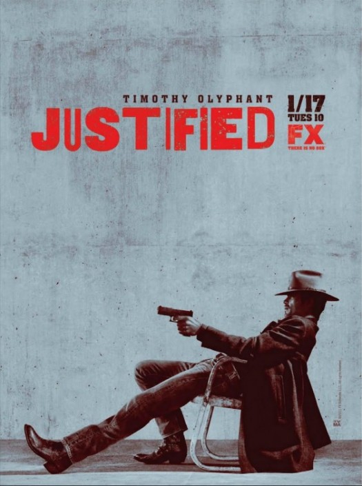 justified season 3 rare promo poster FX raylen gibbens timothy olyphant in a chair with a gun