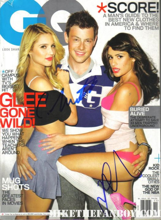 lea michele and cory monteith signed autograph glee gq magazine rare risque photoshoot promo