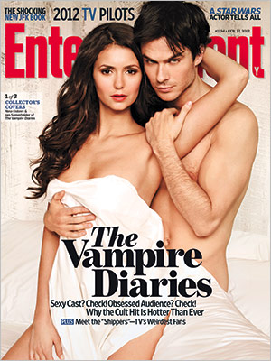 entertainment weekly hot sexy vampire diaries naked shirtless ian somerhaulder nina dobrev magazine cover rare