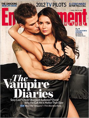 1194coverNINA_PAUL_300 entertainment weekly hot sexy vampire diaries naked shirtless paul wesley nina dobrev magazine cover rare