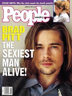 brad pitt sexiest man alive people magazine cover hot and sexy rare promo facial hair long hair hot rare promo