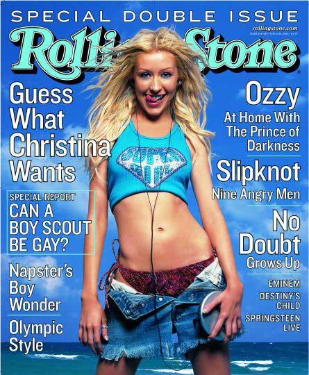 christina aguilera hot sexy rolling stone magazine cover lick lips rare promo rolling stone rare