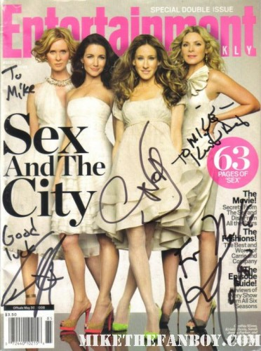 sex and the city entertainment weekly magazine cover signed autograph cast kristen davis cynthia nixon kim cattrall hot sexy rare promo chris noth