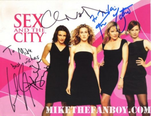 sex and the city cast promo cover signed autograph cast kristen davis cynthia nixon kim cattrall hot sexy rare promo chris noth