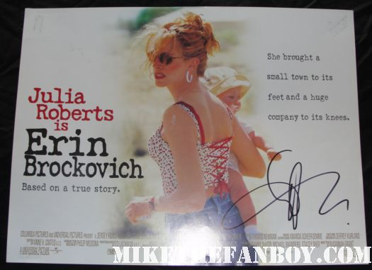 aaron eckhart signed autograph erin brockovich rare uk quad mini movie poster promo hot sexy julia roberts