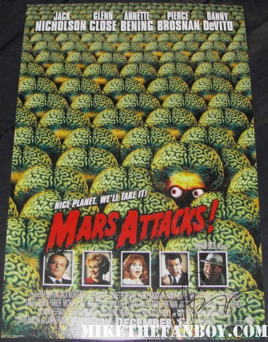 annette benning signed autograph mars attacks rare promo mini movie poster one sheet hot rare