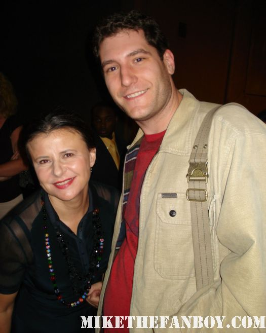 mike the fanboy posing with tracey ullman for a fan photo after a talk show taping signed autograph simpsons rare