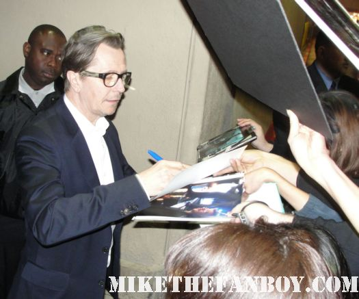 fifth element star the legend Gary Oldman signing autographs rare promo dark knight rises promo poster rare
