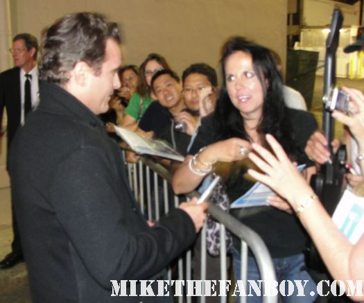 Joaquin Phoenix signs autographs for fans and does a rare talk show appearance and signs autographs for fans looking hot and sexy