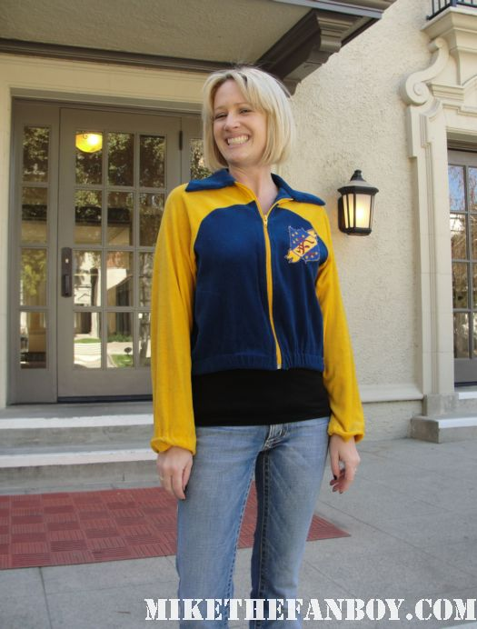 Lindsay from I am not a stalker.com  wearing an original facts of life promo track jacket The Facts of life Eastland School for girls rare on location now 2012 rare promo charlotte rae kim fields mindy cohen lisa whelchel