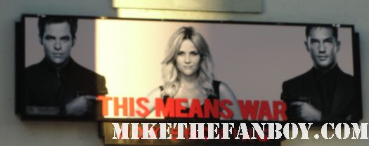 this means war movie premiere sign with reese witherspoon tom hardy chris pine rare hot
