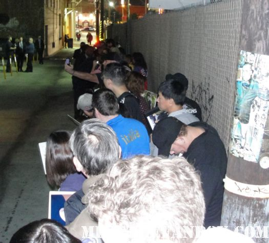 the crowd of people waiting to see josh hutcherson and nathan fillion outside of jimmy kimmel live
