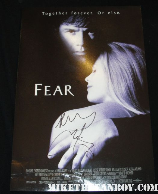 mark wahlberg and reese witherspoon signed autograph promo fear one sheet mini poster promo hot sexy rare shirtless naked marky mark shirtless