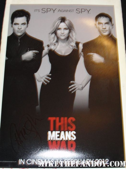 chris pine signed autograph this means ware promo mini poster promo hot sexy rare one sheet movie poster